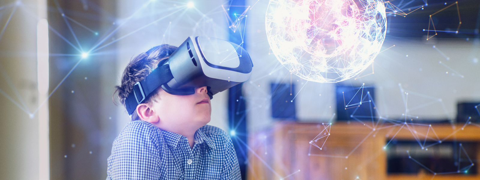 boy with virtual-reality goggles amazed by crystalline structure