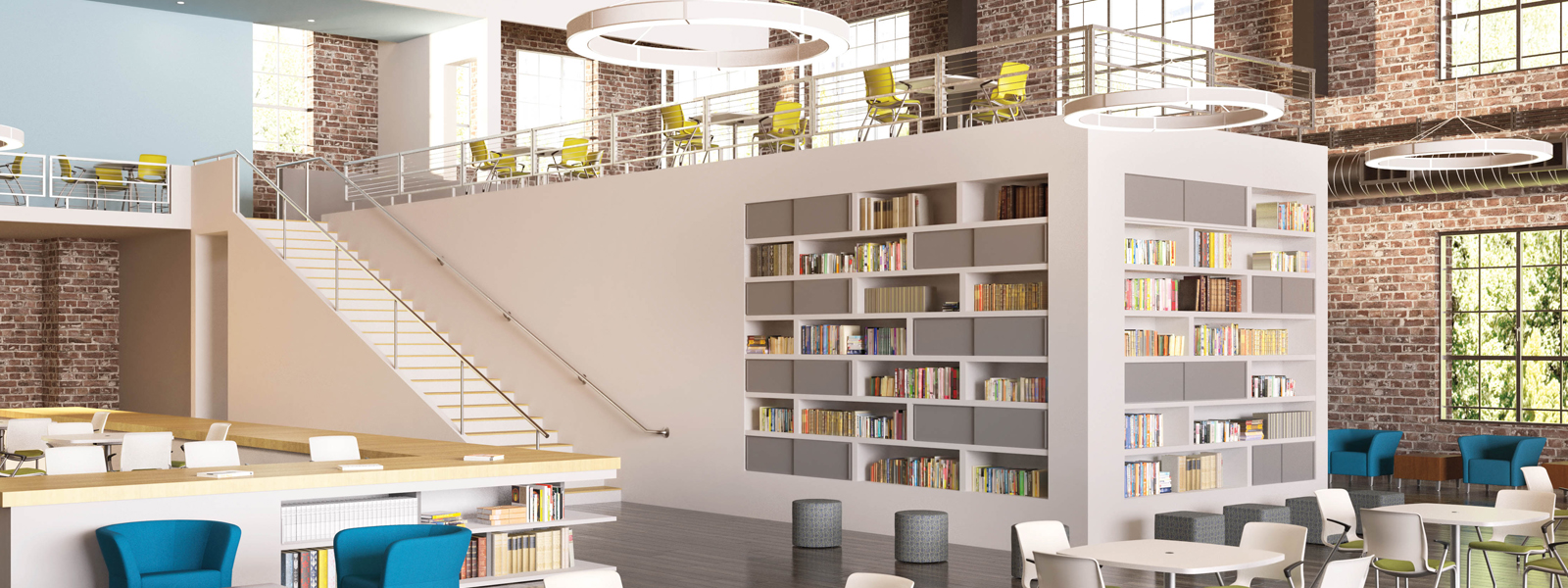 3D rendering of a brightly-lit library with tables and chairs