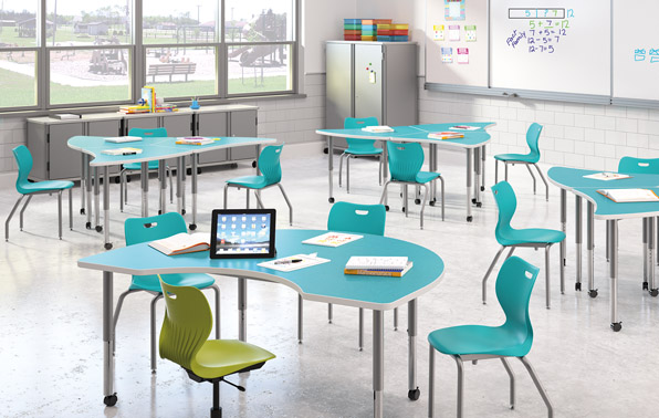 3D render of a well-lit classroom with aqua-colored tables and chairs