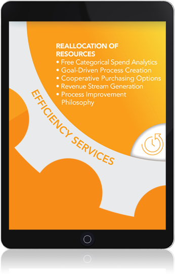 tablet: Efficiency Services. Reallocation of resources: free categorical spend analysis, goal-driven process creation, cooperative purchasing options, revenue stream generation, process improvement philosophy