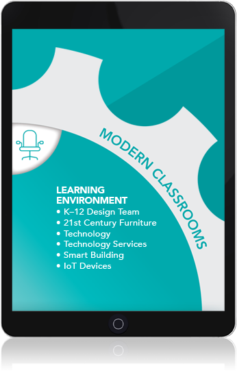 tablet: Modern Classrooms. Learning environment: K-12 design team, 21st-century furniture, technology, technology services, smart building, IOT devices